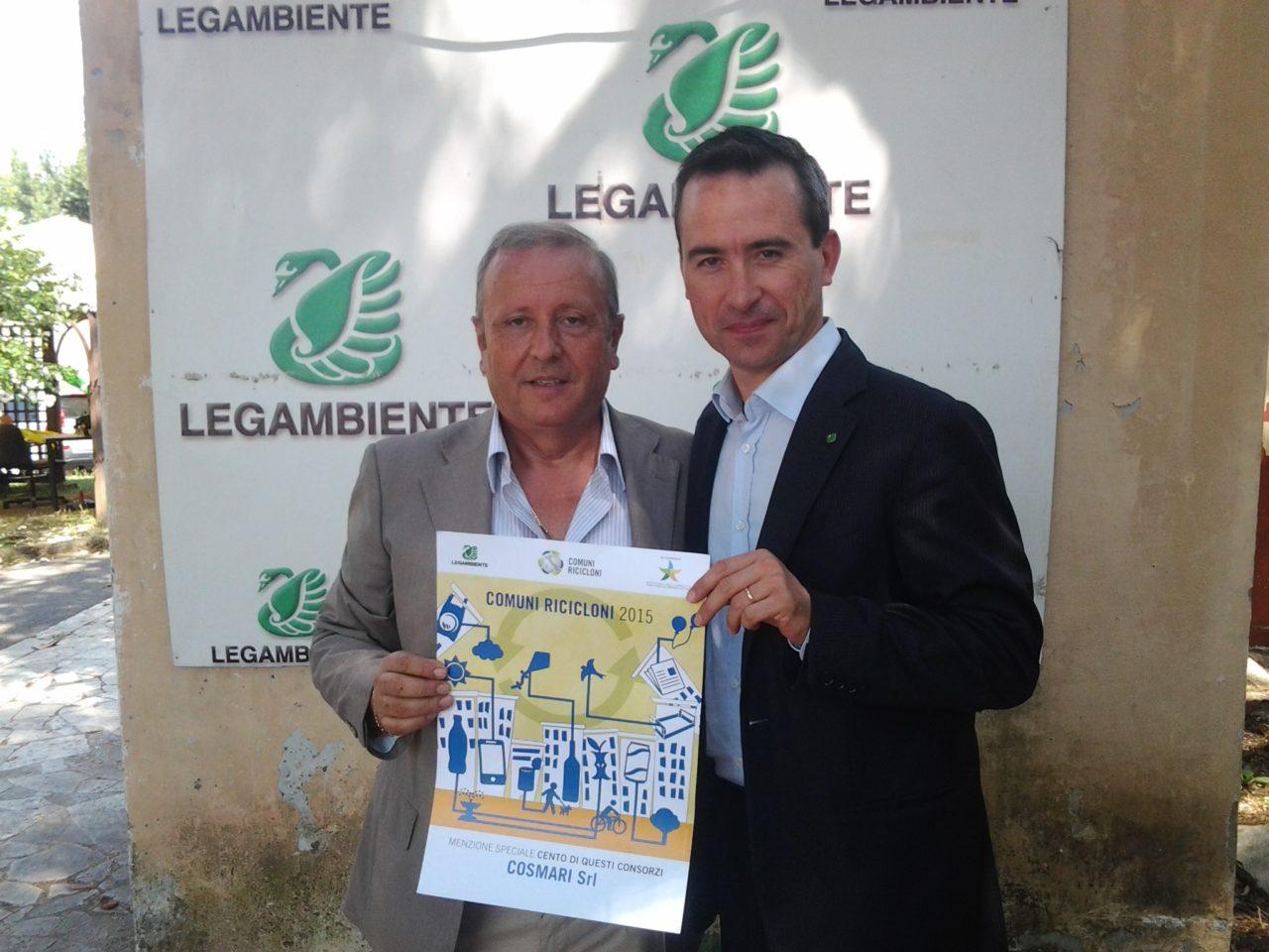 Comuni Ricicloni 2016 - Il Direttore del Cosmari Giuseppe Giampaoli e il Direttore Nazionale di Legambiente